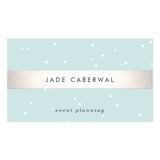 Elegant Silver Striped White Stars Event Planner Double-Sided Standard Business Cards (Pack Of 100)