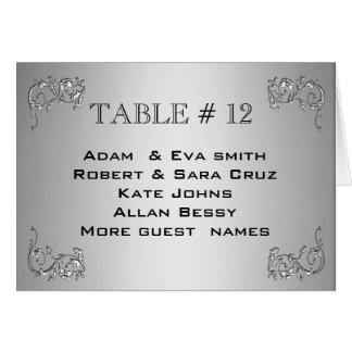 Elegant Silver Table number template wedding Card