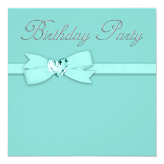 Elegant Silver Teal Blue Birthday Party 5.25x5.25 Square Paper Invitation Card