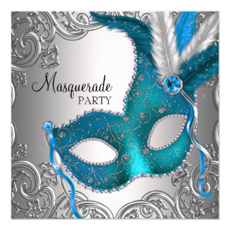 Elegant Silver Teal Blue Masquerade Party Card