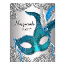 Elegant Silver Teal Blue Masquerade Party Card