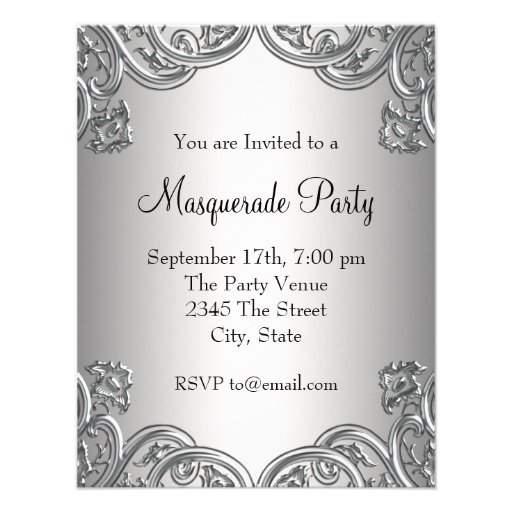 Elegant Silver Teal Blue Masquerade Party Personalized Invitation (back side)
