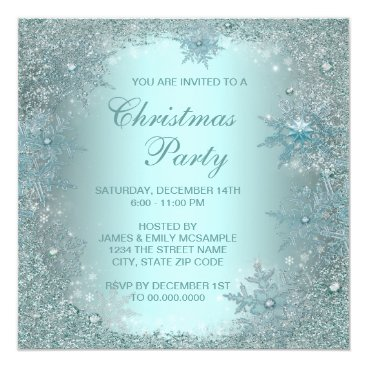 Elegant Silver Teal Blue Snowflake Christmas Party Card