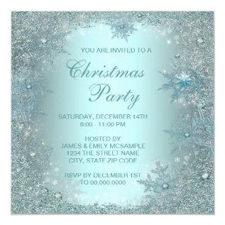 Elegant Silver Teal Blue Snowflake Christmas Party Card at Zazzle
