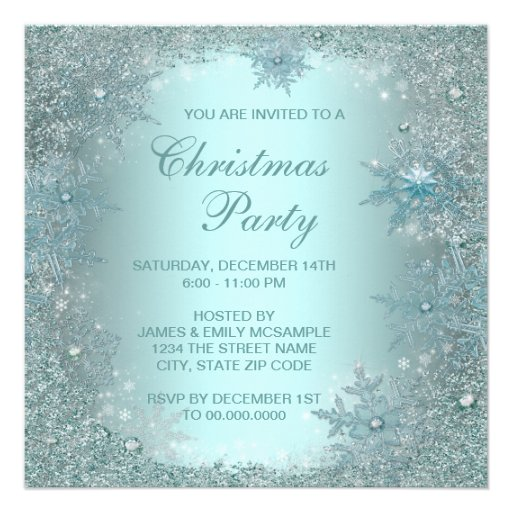 Elegant Silver Teal Blue Snowflake Christmas Party Personalized ...