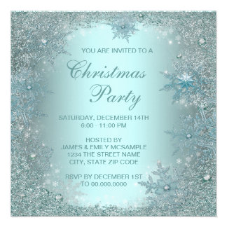 Elegant Silver Teal Blue Snowflake Christmas Party Personalized Invites