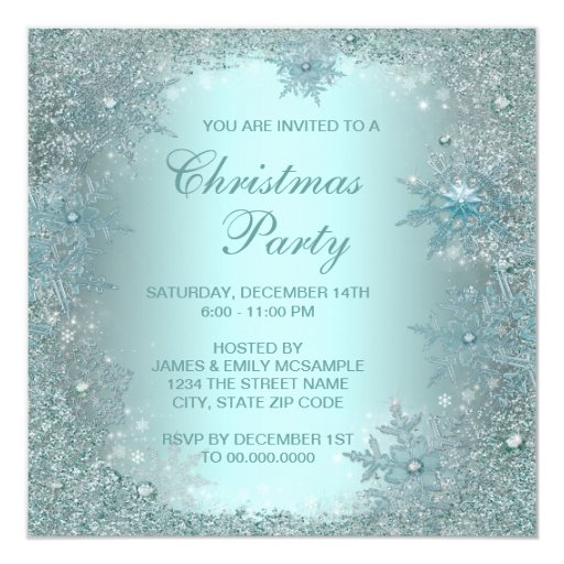 Elegant Silver Teal Blue Snowflake Christmas Party Invitation | Zazzle