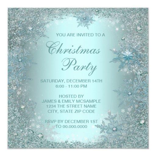 Elegant Silver Teal Blue Snowflake Christmas Party