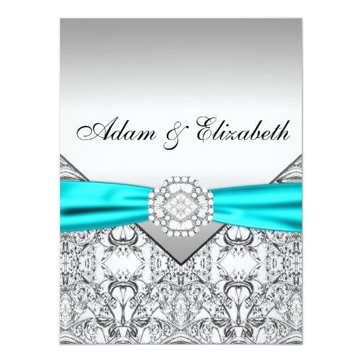 Silver Wedding Gift Experiences : Elegant Silver Teal Blue Wedding Invitations Zazzle