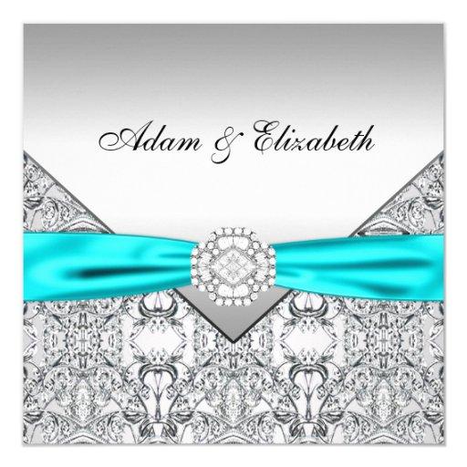 Elegant Silver Teal Blue Wedding Invitations