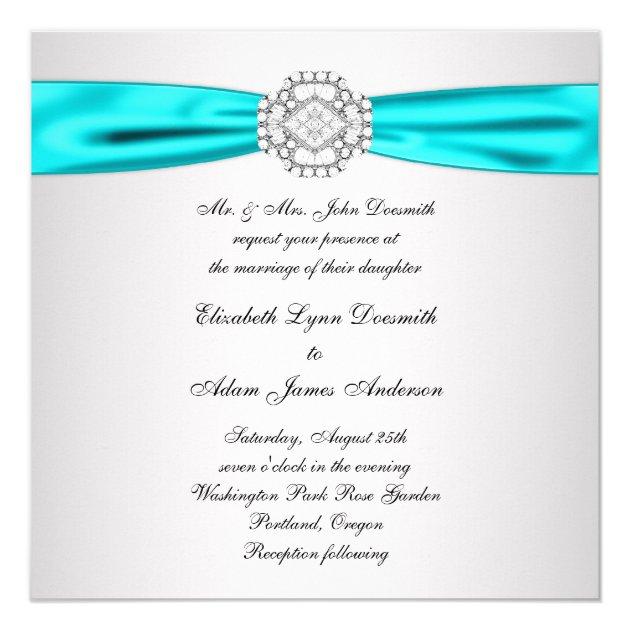 elegant silver teal blue wedding invitations | zazzle, Wedding invitations