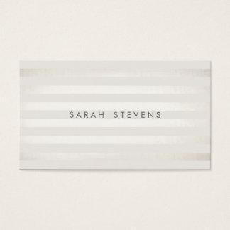 Elegant Silver Thin Off White Striped Salon Spa Business Card