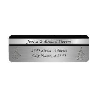 Elegant silver trendy holiday Christmas tree Label