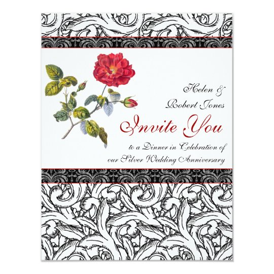 Elegant Silver Wedding Invitations: Elegant Silver Wedding Anniversary Invitation