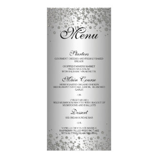 Elegant silver Wedding Menu