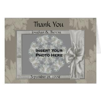 Elegant Silver Wedding Photo Thank You Card #2