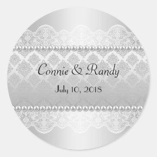Elegant Silver Wedding Sticker Monogram with Pearl