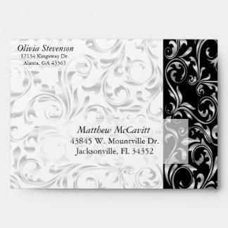 Elegant Silver, White and Black Damask Envelope