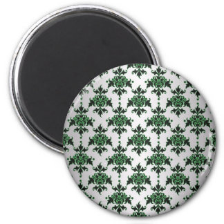 Elegant Silver White and Green Damask Refrigerator Magnet