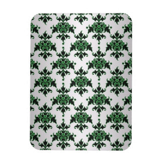 Elegant Silver White and Green Damask Rectangle Magnet