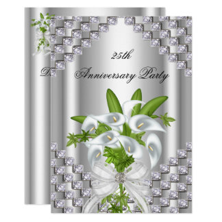 Elegant Silver White Floral 25th Anniversary Party Invitation
