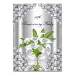 Elegant Silver White Floral 25th Anniversary Party Personalized Announcement