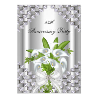 Elegant Silver White Floral 25th Anniversary Party 5x7 Paper Invitation Card