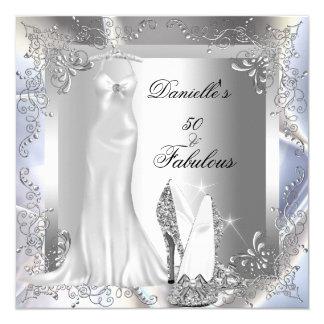 Elegant Silver White High Heel Shoe Fabulous 50 5.25x5.25 Square Paper Invitation Card