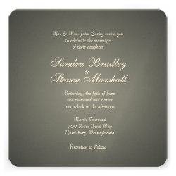 Elegant Silver White Print Wedding Invitations