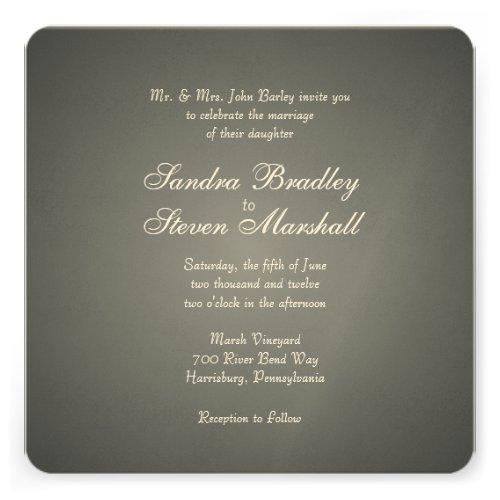 Elegant Silver White Print Wedding Invitations