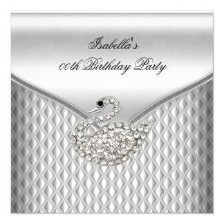 Elegant Silver White Swan Birthday Party Card