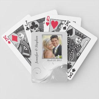 Elegant Silver & White Wedding Photo Playing Cards