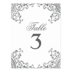 Elegant Silver White Wedding Table Cards at Zazzle