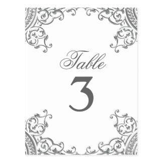 Elegant Silver White Wedding Table Cards Postcard