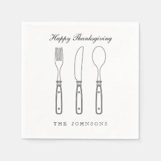 Elegant Silverware Happy Thanksgiving Napkin Standard Cocktail Napkin