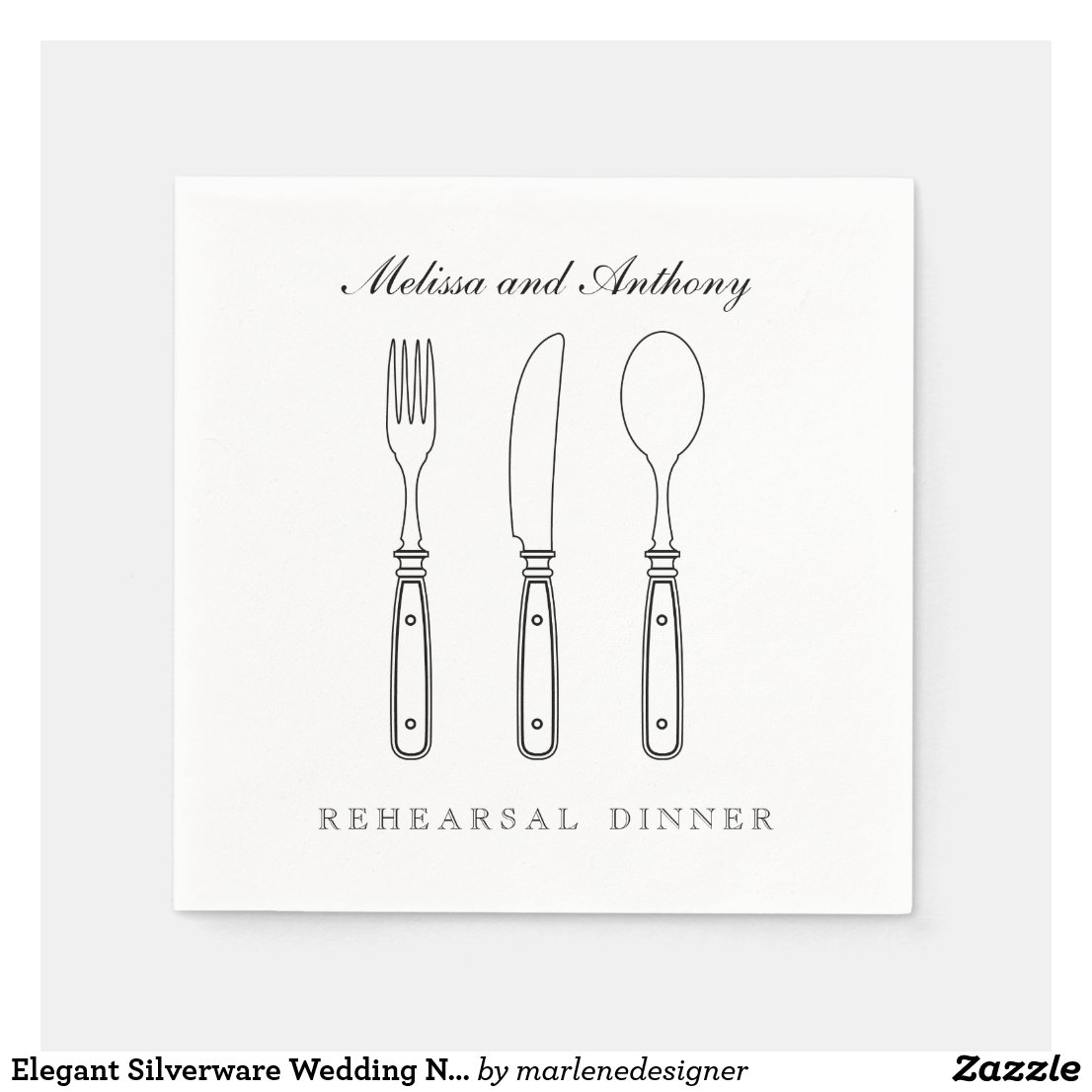 Elegant Silverware Wedding Napkin