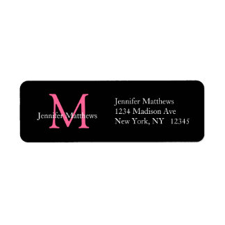Elegant Simple Address Labels Pink Initial