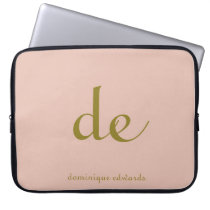 Elegant Simple and Modern Blush and Gold Color Computer Sleeve