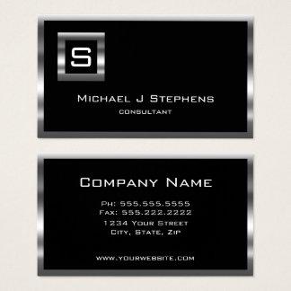 Elegant  Simple Black and Chrome Monogram Business Card
