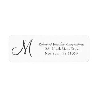 Elegant Simple Black And White Monogram Address Label at Zazzle