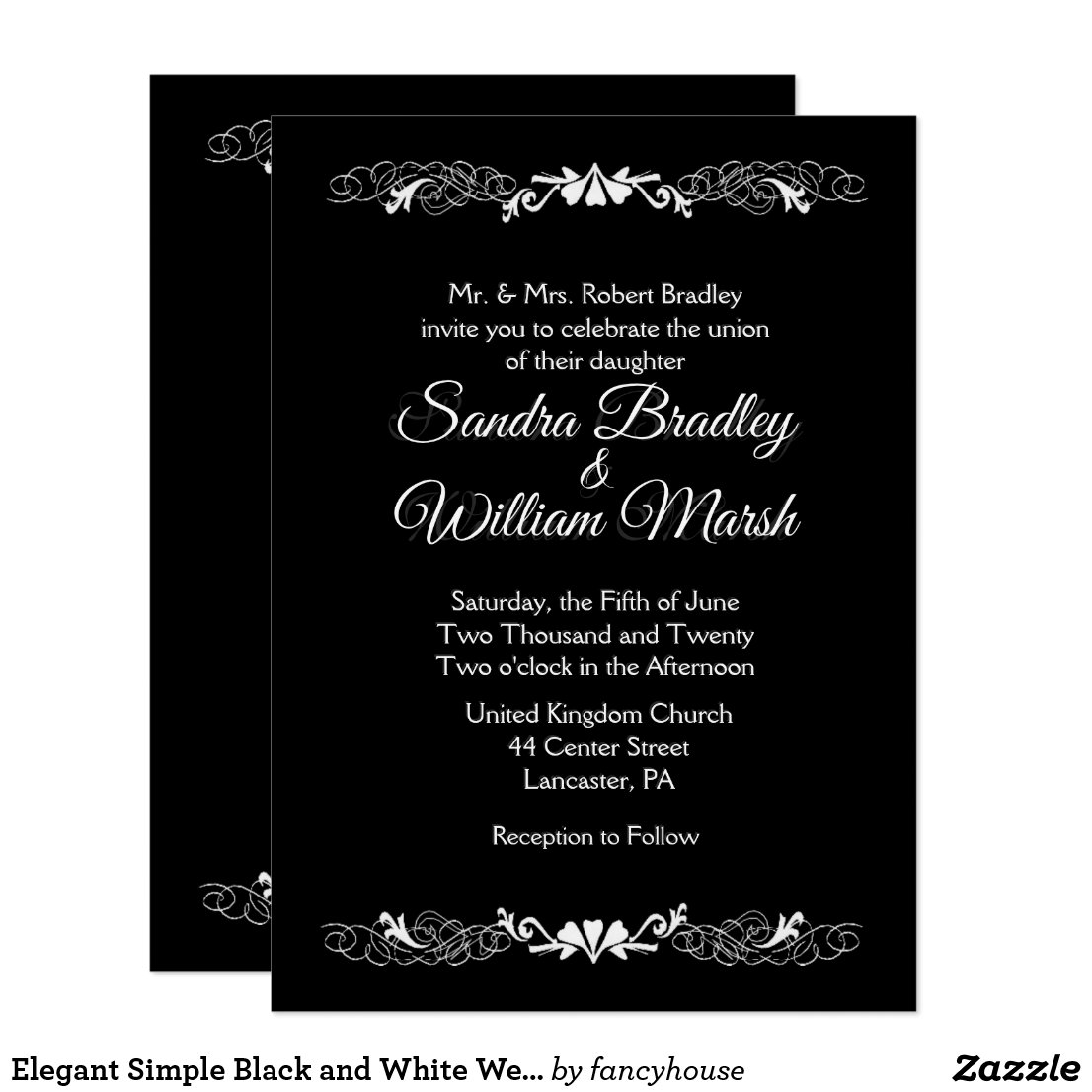 Elegant Simple Black and White Wedding Invitation
