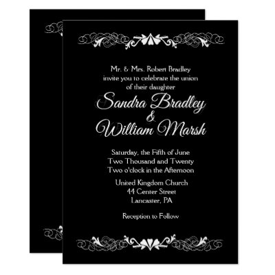 Elegant Simple Black and White Wedding Invitation