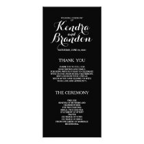 Elegant Simple Black Custom Wedding Program