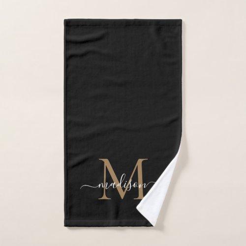 Elegant Simple Black Gold Monogram Script Name Hand Towel