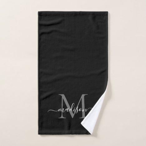 Elegant Simple Black Gray Monogram Script Name Hand Towel