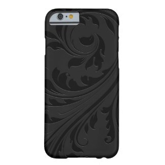 Elegant Simple Black Monochromatic Floral Swirls Barely There iPhone 6 Case