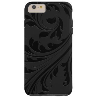 Elegant Simple Black Monochromatic Floral Swirls Tough iPhone 6 Plus Case