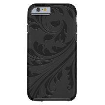Elegant Simple Black Monochromatic Floral Swirls Tough iPhone 6 Case