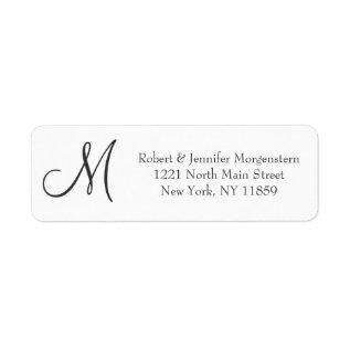 Elegant & Simple, Black & White Monogram Address Label at Zazzle
