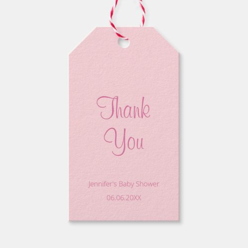 Elegant Simple Design Pink Baby Shower Thank You Gift Tags